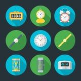 Vector flat design clock icons set Stock Photos