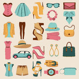 Vector flat design concept of fashion look. Flat design concept of fashion look and trendy accessories Royalty Free Stock Image