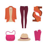 Vector flat design concept of fashion look. Flat design concept of fashion look and trendy clothes Stock Images