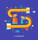 Vector Flat design concept with icons of buying Royalty Free Stock Photos