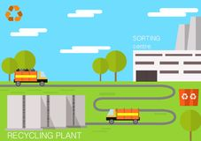 Recycling plant. Vector flat design concept illustration of  Waste Recycling plant Stock Photography