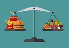 Vector. Flat design. Concept of weight loss, healthy lifestyles. Concept of weight loss, healthy lifestyles, diet, proper nutrition. Vegetables and fast food on Royalty Free Stock Photography