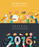 Vector flat design concepts for business analysis and planning 2016 Stock Photos