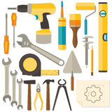 Vector flat design DIY and home renovation tools Royalty Free Stock Images