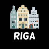 Vector flat design of famous buildings in Riga, Latvia Royalty Free Stock Photos