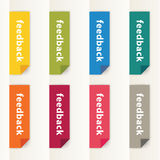 Vector flat design feedback buttons. Modern feedback buttons in Royalty Free Stock Photography