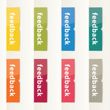 Vector flat design feedback buttons. Modern feedback buttons in. Eight different colors. Clean and clear flatdesign Stock Photo