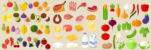 Vector flat design icon set. Vector flat design fruits, vegetables, milk. cheese, meat and sausage icon set royalty free illustration