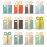 Vector Flat Design Gift Boxes Set Stock Images