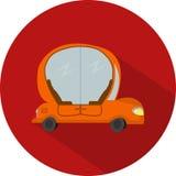Vector Flat Design Icon of Car Autopilot. In red colour vector illustration