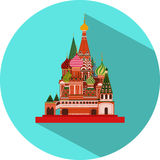 Vector Flat Design Icon of St. Basil's Cathedral Stock Photos