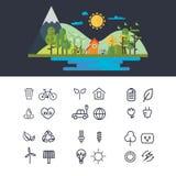 Vector flat design illustration of ecology landscape. infographic element. eco icon set Stock Photo