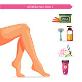 Vector flat design illustration and icons of epilation. Beautiful female legs or feet and different types of hair removal. Bottle of wax, shaving razor and gel Stock Image