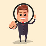 Vector flat design illustration. Manager character looking through a magnifying glass. Stock Image