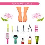 Vector flat design illustration of pedicure procedure. Royalty Free Stock Image