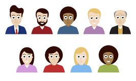 Vector flat design people avatars isolated on background. Vector flat design people avatars isolated on white background Royalty Free Stock Photo