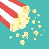 Vector Flat Design Popcorn in Bucket Illustration. Vector Flat Design Popcorn in Bucket Flat Design Illustration Stock Images