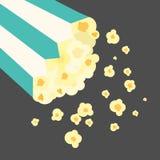 Vector Flat Design Popcorn in Bucket Illustration. Vector Flat Design Popcorn in Bucket Royalty Free Stock Photography