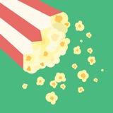 Vector Flat Design Popcorn in Bucket Illustration. Vector Flat Design Popcorn in Bucket Royalty Free Stock Images