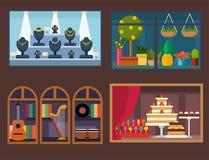 Vector flat design restaurant shops facade storefront market building architecture showcase window illustration. Royalty Free Stock Photo