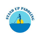 Vector flat design style illustration of stand up paddle logotype Royalty Free Stock Image