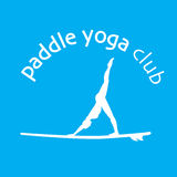 Vector flat design style illustration of stand up padlle yoga Royalty Free Stock Photo