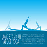 Vector flat design style illustration of stand up padlle yoga te Royalty Free Stock Photo