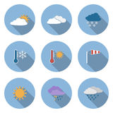 Vector flat design style weather icons set Stock Image