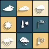 Vector flat design style weather icons set Stock Images