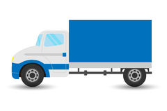 Vector flat design transportation icon featuring small size moving truck. Logistics and delivery vehicle trendy style icon Royalty Free Stock Images
