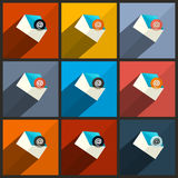 Vector Flat Design UI Email Icons Stock Photos