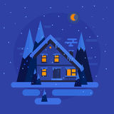 Vector flat design. Winter night with snow, trees, house. illustration Royalty Free Stock Photography