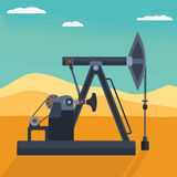 Vector Flat Detailed Oil Pump On The Desert Backround. Pumpjack detailed flat style vector illustration. Working oil well pump on the desert background Royalty Free Stock Images