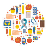 Vector flat diabetes icons royalty free illustration