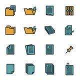 Vector flat document icons set Stock Photos