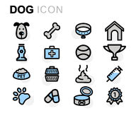 Vector flat dog icons set. On white background Royalty Free Stock Images
