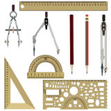 Vector flat drawing instrument icons set. Vector set of drawing tools compasses, protractor, pencils, rulers isolated on white background. Flat style design Royalty Free Stock Photo