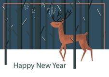 Flat illustration with deer standing royalty free illustration