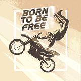 Vector flat dynamic extreme sport illustration with moto free style rider silhouette. Stock Photos