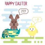 Flat easter card template with confused bunny in the egg shell and spiteful chicken. Vector flat easter card template with confused bunny in the egg shell and Royalty Free Stock Photos