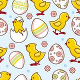 Vector flat easter chicken egg seamless pattern Stock Images