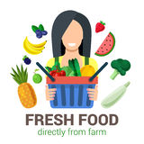 Vector flat eco food from farm: agriculture logo. Female young girl shop seller salesman farmer harvest natural eco fresh food. Stylish quality detail icon set Stock Photo