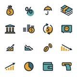 Vector flat economic icons set Stock Images