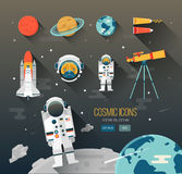 Vector set of flat education space items.  Planets of solar system. Stock Images