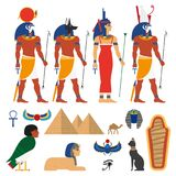 Vector flat egypt symbols set Royalty Free Stock Photos