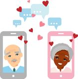 Cute cartoon illustration of old european african american people in love using telephone and internet. stock illustration