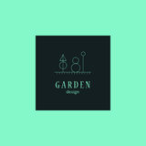 Vector flat elegant logo template for gardening companies. Royalty Free Stock Images