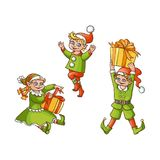 Vector flat elves boy, girl christmas scenes set. Vector flat cartoon hand drawn christmas elves scenes set. boy standing holiday present box, another one Royalty Free Stock Photography