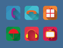 Vector flat entertainment icons set. Stock Photography