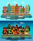 Vector flat European city: day, night, houses, canal, street. Flat cartoon multicolor colorful historic buildings city town suburb set day and sunset night vector illustration